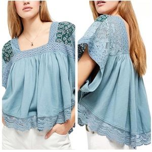 NWT Free People Prairie Days Embroidered Top